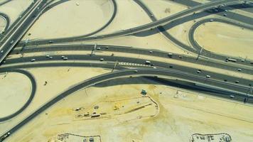 Aerial view desert expressway interchange  Dubai