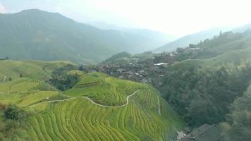 Aldeia Longsheng e arrozal em socalcos