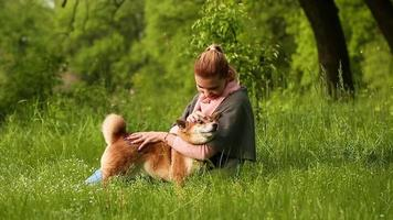 Girl hugging and pats dog Shiba Inu