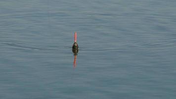 bobber di pesca che galleggia nel fiume