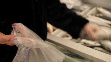 loja de peixes. mulher pega um peixe congelado video