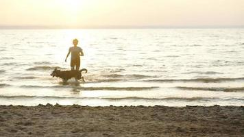 Female runner jogging with siberian husky dogs during the sunrise on beach.