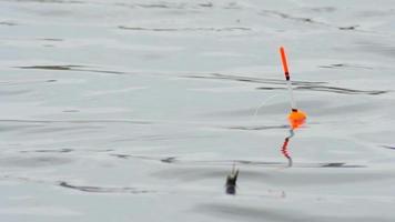 bobber di pesca sull'acqua