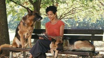 Menschen, Haustiere, Hundesitter mit elsässischen Hunden im Park