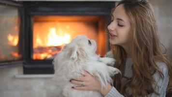 jovem com seu cachorro brincando em casa. video