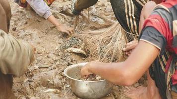 pescadores que sacan pescado enredado de su red y lo mantienen en una olla de metal