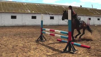 femme cheval saute à travers la barrière à cheval au ralenti
