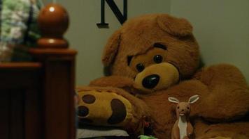 animaux en peluche dans la chambre d'un enfant