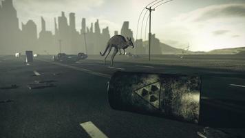 ciudad apocalíptica con canguro saltarín
