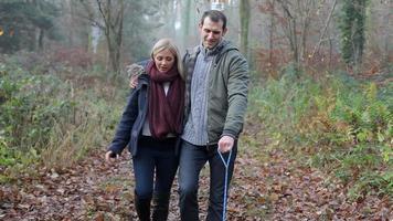 coppia che cammina cane attraverso boschi invernali