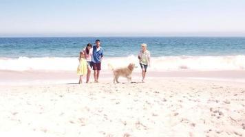 linda familia jugando a la pelota con el perro