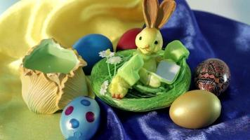 Easter candle and eggs