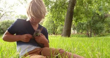 criança feliz cuidando de um coelho lá fora