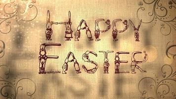 Happy Easter Animation with Easter Bunny Icons video