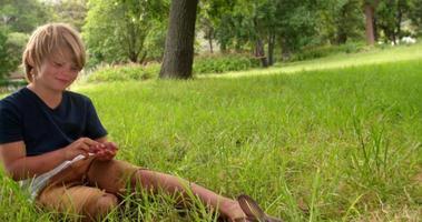 conejito en el jardín con un niño detrás de él