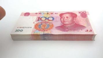 pila de papel moneda rmb 4k video