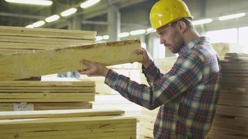o trabalhador da serraria faz o controle de qualidade da madeira em um armazém. video