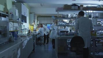 Group of caucasian scientists in white coats are working in a modern laboratory. video