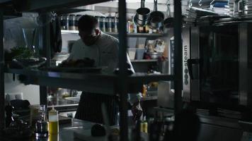 El chef profesional viene a trabajar a la cocina comercial y enciende las luces. video