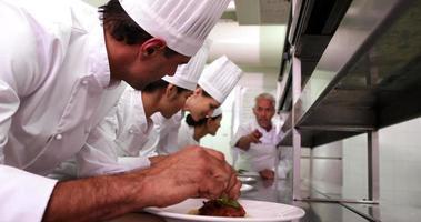chefe de cozinha supervisionando sua equipe decorando pratos video