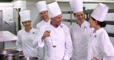 Team von Köchen, die der Kamera ein OK-Zeichen geben video