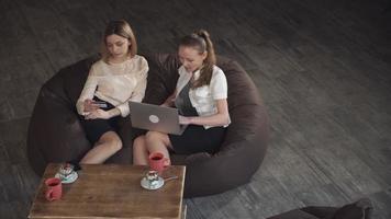due bionde attraenti fanno un acquisto online, una in possesso di una carta di credito e la seconda fa un acquisto con il laptop