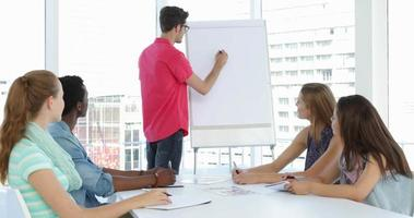 hombre dando presentación a sus colegas en una reunión