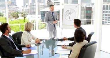 empresário fazendo apresentação para colegas de trabalho