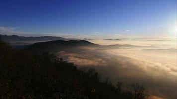 Morning mountain panorama with fog on the valley pan