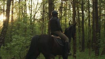 junges Mädchen, das Pferd im Wald reitet