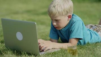 ragazzo utilizzando il computer portatile sul prato