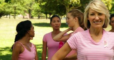 attivisti per la consapevolezza del cancro al seno nel parco