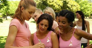 Mujeres organizando un evento de concienciación sobre el cáncer de mama en el parque. video