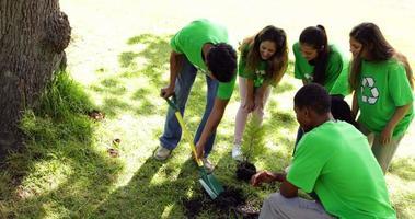 activistas ambientales plantando un árbol en el parque.