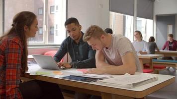 grupo de estudantes de mídia colaborando no projeto