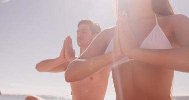 amis faisant du yoga ensemble video