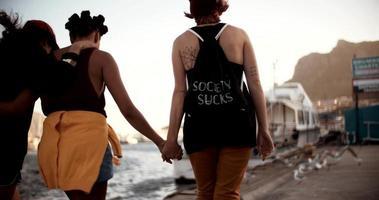 ragazze teenager del grunge che camminano insieme intorno al porto video