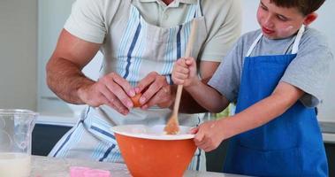lachende vader en zoon die samen een taart maken video