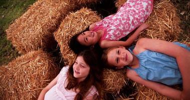 meninas deitadas na palha em círculo com as cabeças juntas video