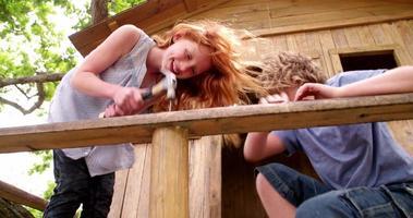 amigos de infância martelando e trabalhando para construir sua casa na árvore juntos video