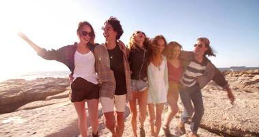 amigos hipster se abraçando alegremente à beira-mar video