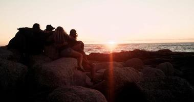 Young adult friends enjoying a sunset at the sea video