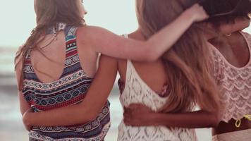 gemischte rassische Gruppe von Freunden, die zusammen am Strand spazieren gehen