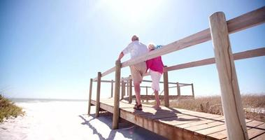 Couple de retraités adultes senior se tenant la main à la plage