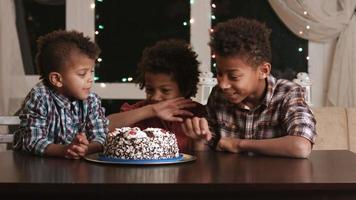 meninos com fome e bolo de aniversário. video