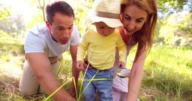 genitori che insegnano al loro bambino la natura