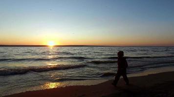 bambina cammina lungo la riva di un grande lago. lei corre lungo il bordo dell'acqua.
