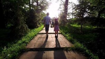 menino e menina adolescente estão no bom caminho no parque. irmão e irmã segurando as mãos um do outro. video