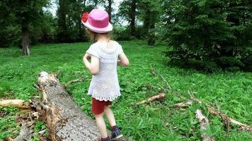 Mädchen geht auf den Stamm eines großen Baumes. auf dem Boden liegende kranke Bäume trocken fällen.