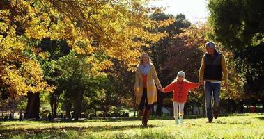 mãe pai e filha caminhando de mãos dadas ao ar livre